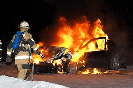 Rescue workers in Kenner must frequently respond to accidents like this car fire. Kenner rescue workers respond to auto accidents, but you need a Kenner Car Accident Attorney to protect your rights. Contact a Kenner, LA auto accident lawyer today.